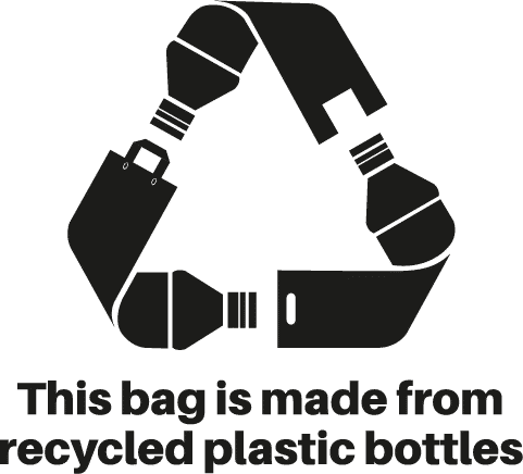 This bag is made from recycled plastic bottles logo